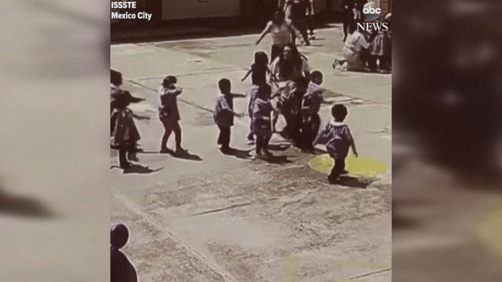 Video shows children being evacuated after Mexico  City earthquake