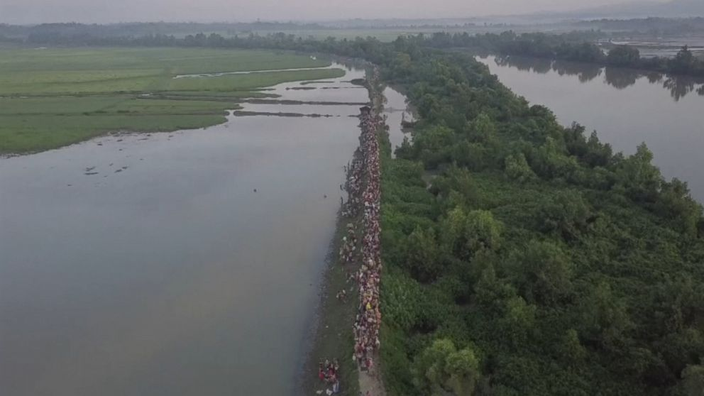 Video: Drone footage shows Rohingya exodus continues unabated
