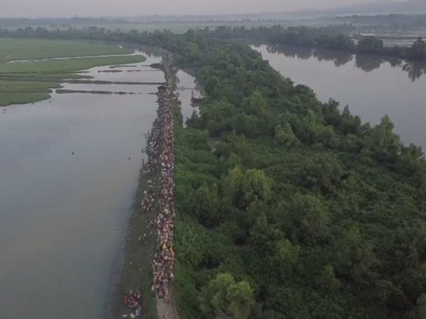WATCH:  Drone video shows Rohingya exodus continues unabated