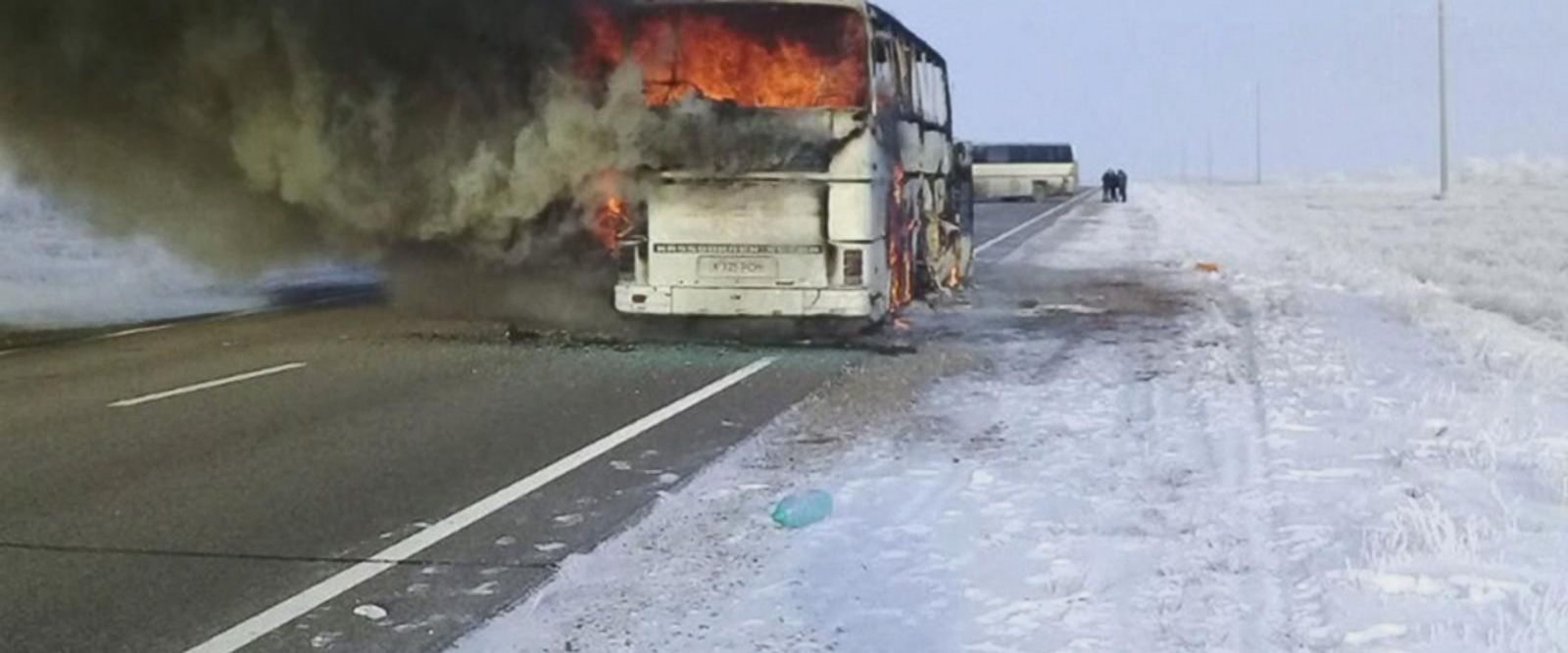 At least 52 people died when their moving bus caught fire in Kazakhstan today in one of the region's deadliest bus accidents in years.