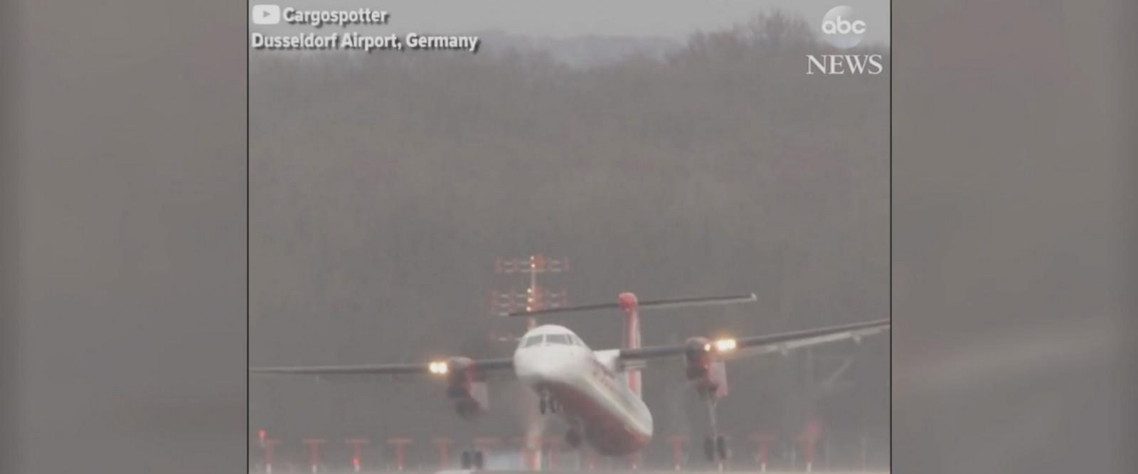 Severe storms rolled into Dusseldorf, Germany, causing airline pilots to have to make some difficult landings.