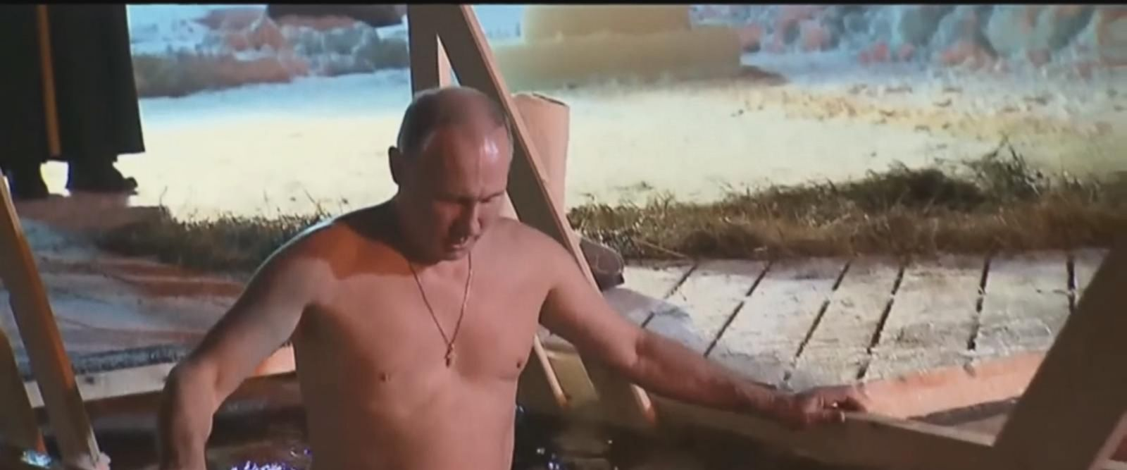 The brawny, bare-chested Russian leader, 65, was photographed Thursday taking a dip in the frigid cold waters of Lake Seliger, located about five hours northwest of Moscow.