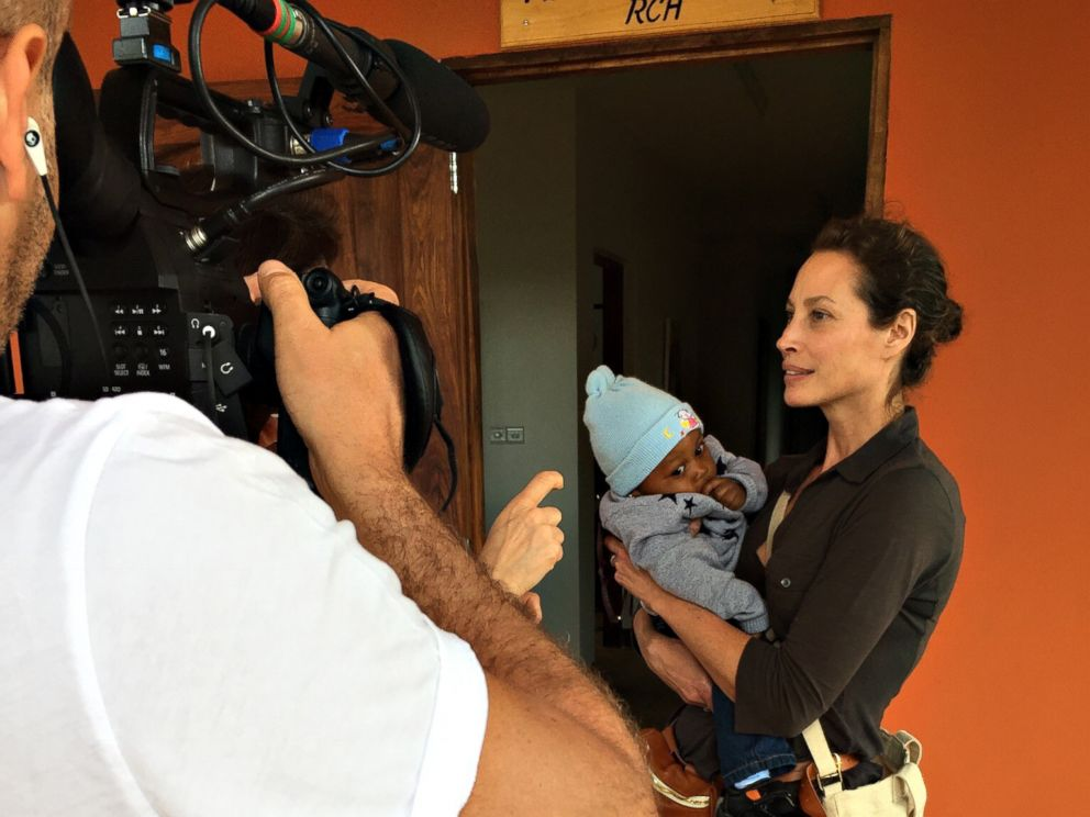 PHOTO: Christy Turlington Burns with baby Jordan who is visiting F.A.M.E. (Foundation for African Medicine and Education) medical hospital for a check-up.