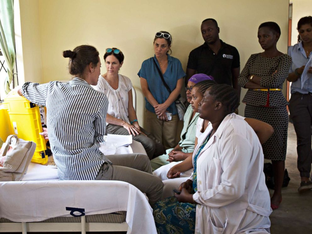 PHOTO: Christy Turlington Burns trains nurses in Tanzania to use a We Care Solar suitcase. The energy the suitcases harness will be used to provide light during nighttime deliveries and power medical tools.