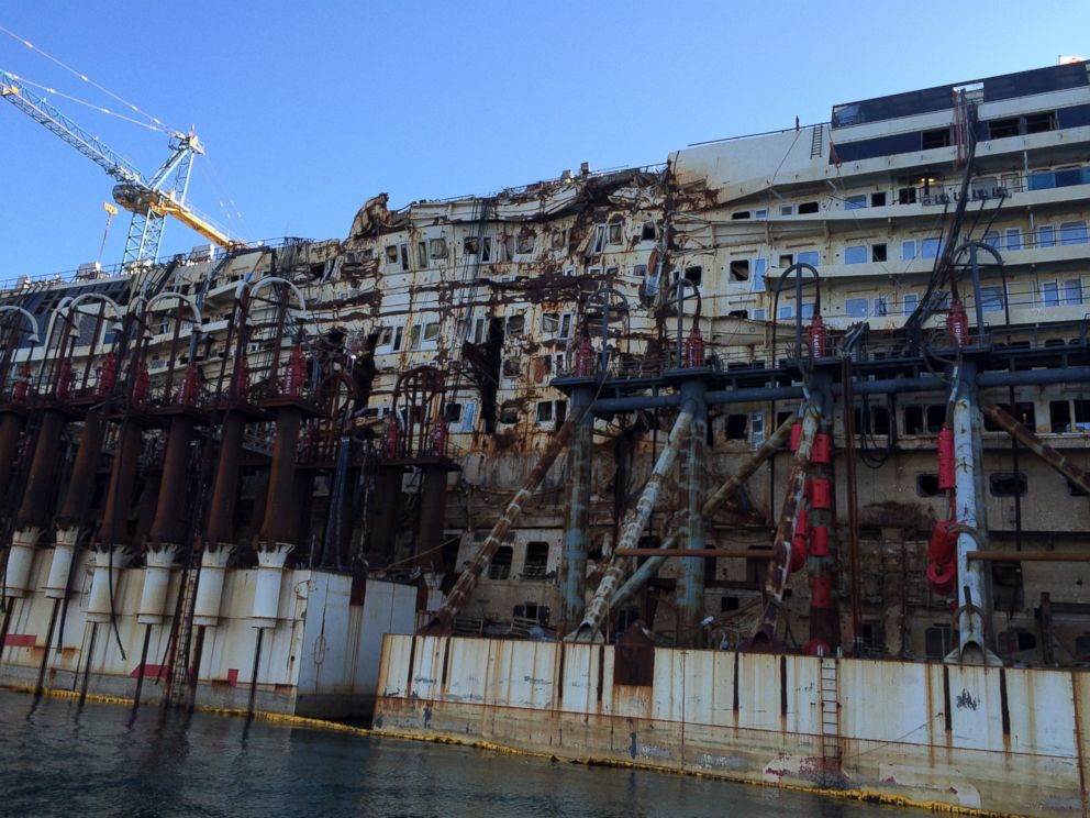 PHOTO: The Costa Concordia sits out by the breakwater in the Port of Genoa, Feb. 11, 2015.