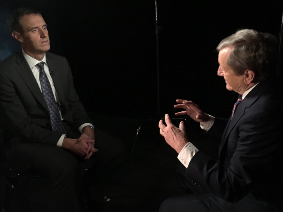 PHOTO: Europol Director Rob Wainwright speaks with ABC News Brian Ross about European security during a recent trip to the United States.