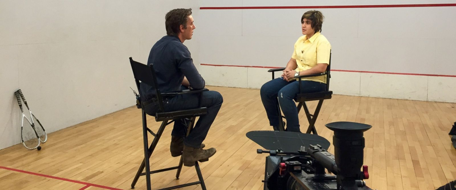 PHOTO: David Muir interviews Maria Toorpakai, who lived as a boy in a Taliban-controlled part of Pakistan so she could play squash.