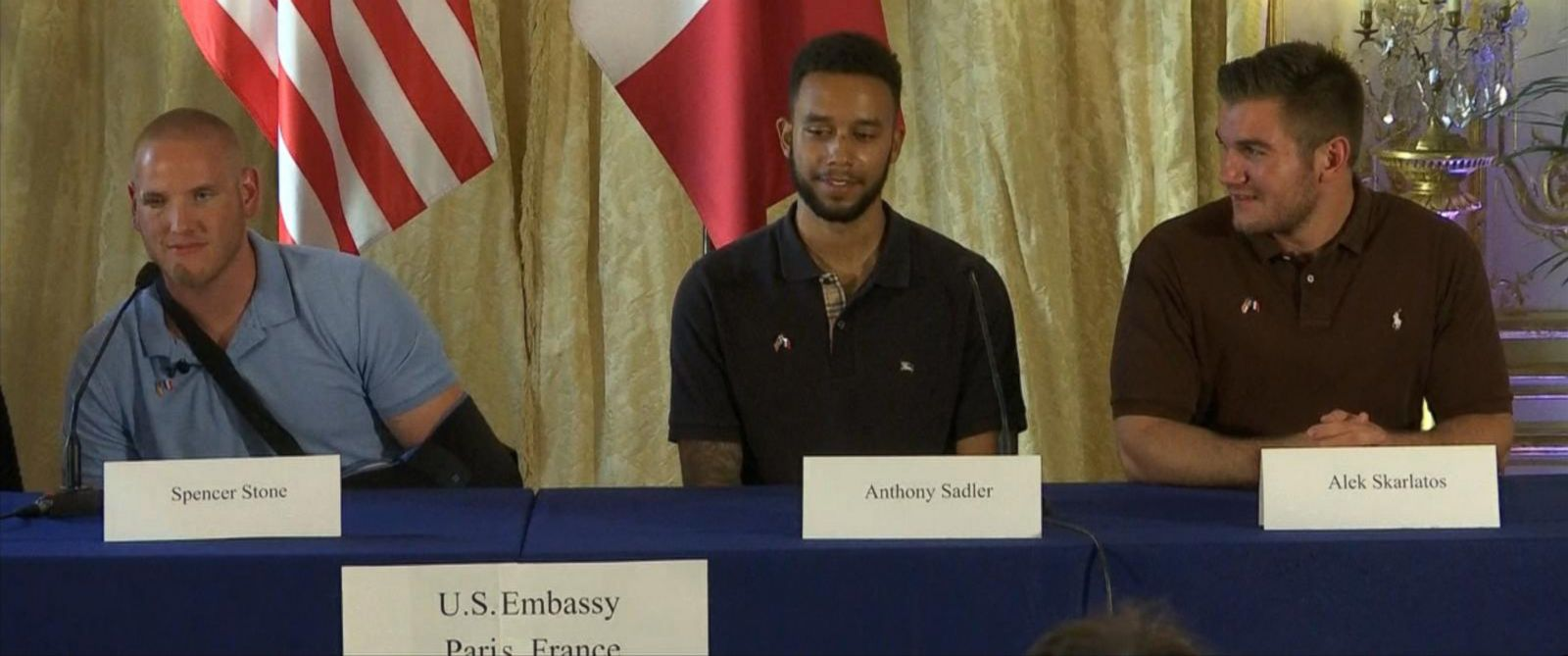 PHOTO: Spencer Stone, Anthony Sadler and Alek Skarlatos, three Americans involved in stopping alleged gunman, speak at a news conference at the U.S. Embassy in Paris, Aug. 23, 2015.
