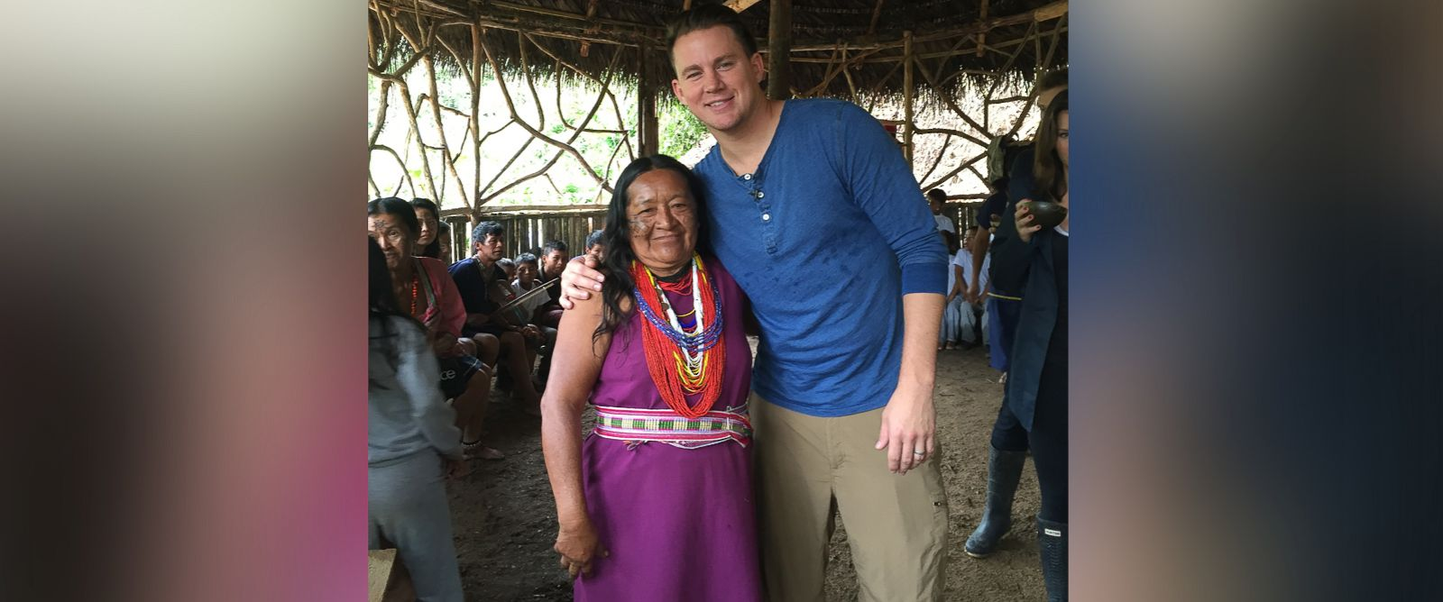 "PHOTO: Channing Tatum is shown here with a Kichwa woman during an interview with ABC News ""Nightline."""