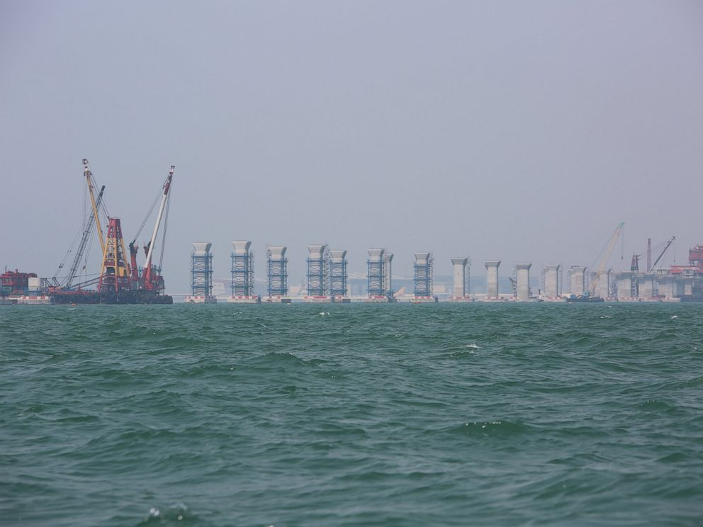 PHOTO: Construction of the 35km bridge under construction between Hong Kong, Macau and Zhuhai spans across the dolphins habitat.