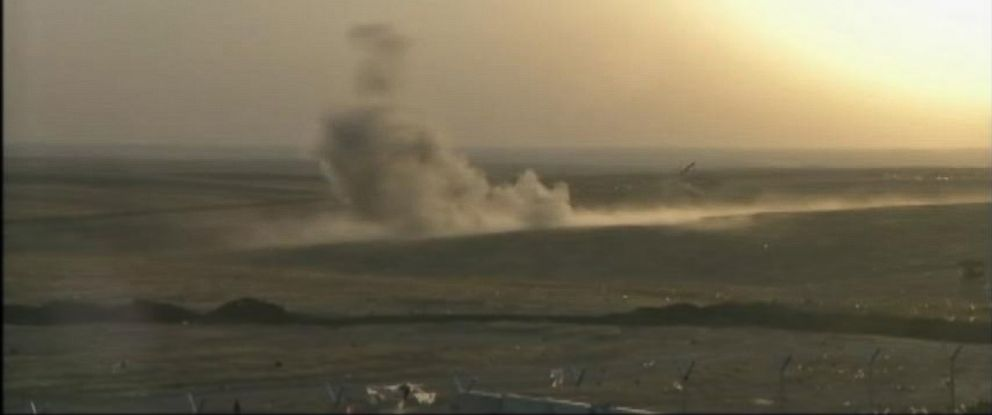 PHOTO: Two F/A 18 fighter jets dropped laser-guided bombs on a mobile artillery piece near Erbil.