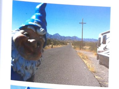 PHOTO: Bev York, a resident of Highlands, B.C., Canada, said she found her gnome that was kidnapped in December 2015, was returned to her driveway, July 26, 2016.