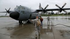 PHOTO: Crew boarding the 109th Airlift Wings C-130 to start the 6 hour journey to Kangerlussuaq, Greenland. Stratton Air Base in Scotia, NY.