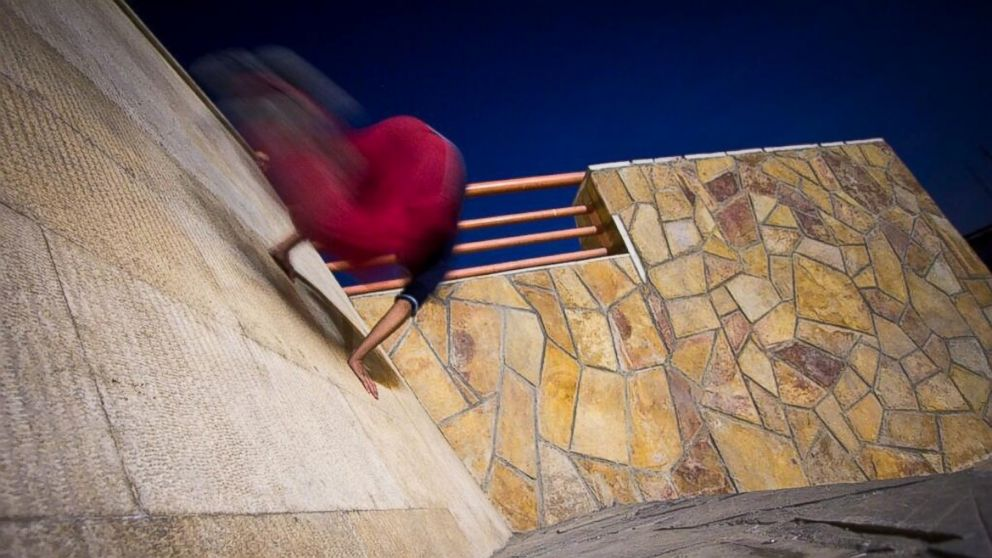PHOTO: Poorya Zaturam moves like a blur, doing Parkour, causing a stir but wont be deterred.