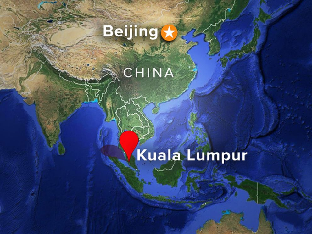 PHOTO: Flight path of Malaysia Airlines flight MH370 from Kuala Lumpur to Beijing, China.