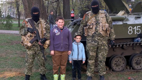 ABC militant kids 02 jef 140416 16x9 608 Ukrainian Kids Smile and Pose With Pro Russian Forces