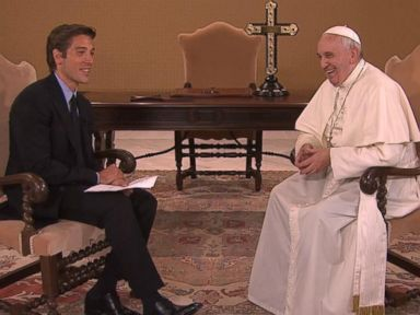 PHOTO: Pope Francis virtual audience was moderated from inside the Vatican by ABC News World News Tonight anchor David Muir.