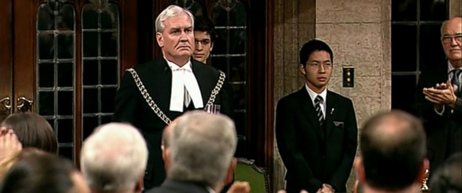 PHOTO: Canadian Parliament reopened this morning and Sergeant-at-Arms Kevin Vickers, who has been held up as a hero after shooting the gunman from Wednesday's attack, was welcomed into the building with lengthy applause and a standing ovation.
