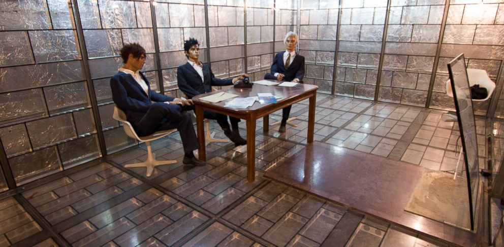 "PHOTO: In a ""glass room"" in the former U.S. Embassy in Tehran, Iran, U.S. diplomats could communicate without the threat of eavesdropping. A wax figure of the last serving U.S. ambassador to Iran sits in the room today."