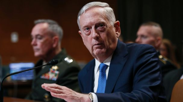 PHOTO: Defense Secretary Jim Mattis, joined by Joint Chiefs Chairman Gen. Joseph Dunford, testifies on Capitol Hill in Washington, on March 22, 2017, before the Senate Appropriations subcommittee hearing on the Defense Department's fiscal 2018 budget.