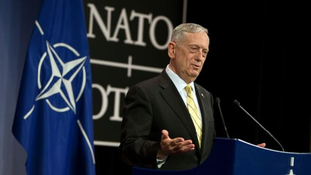 PHOTO: U.S. Sec. of Defense Jim Mattis speaks during a press conference at NATO headquarters in Brussels, Feb. 16, 2017.