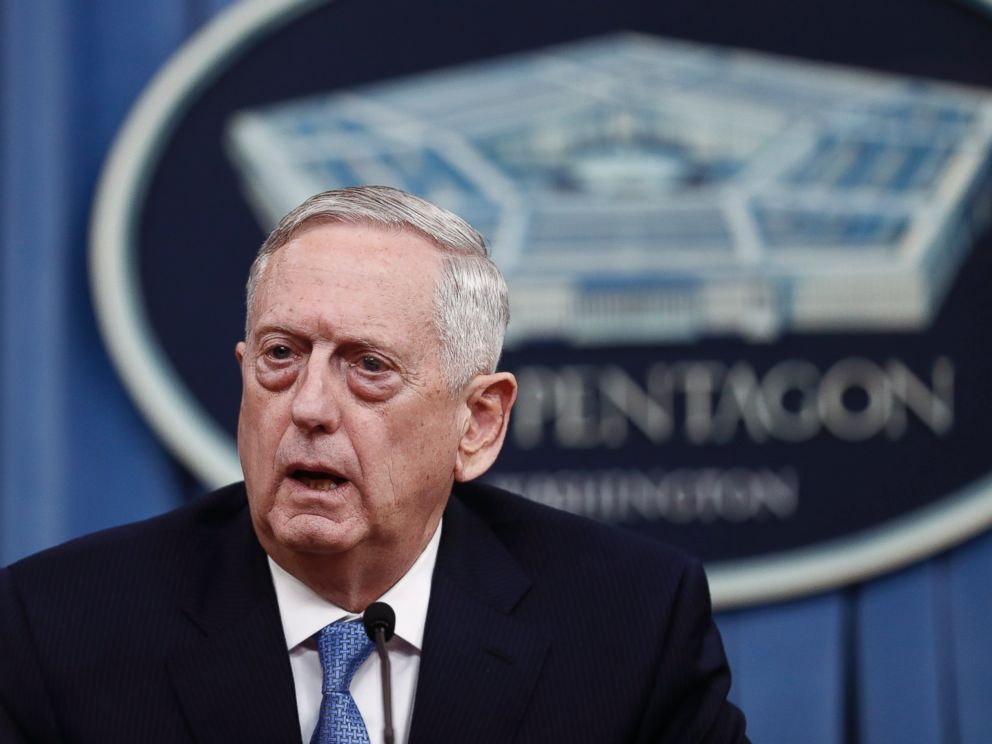 PHOTO: Secretary of Defense Jim Mattis speaks during a news conference at the Pentagon, April 11, 2017.