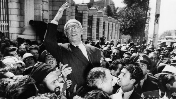 PHOTO: In this Sept. 27, 1951 file photo Prime Minister Mohammed Mosaddegh rides on the shoulders of cheering crowds in Tehran's Majlis Square, outside the parliament building, after reiterating his oil nationalization views to his supporters.