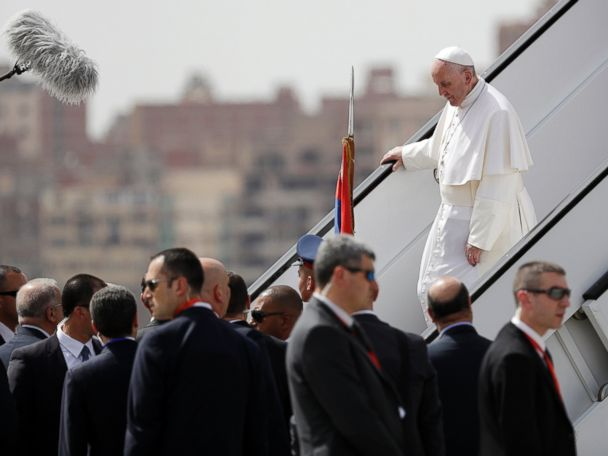 Pope Francis visits Egypt just weeks after attacks on Coptic churches
