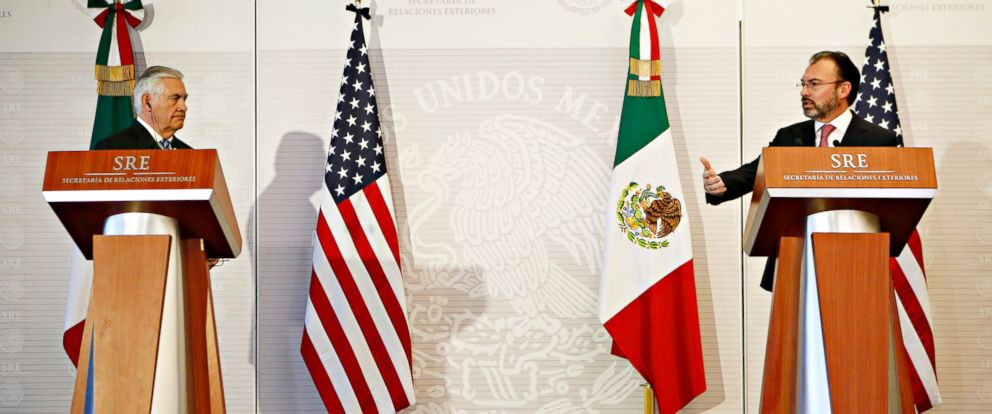 PHOTO: U.S. Secretary of State Rex Tillerson, left, and Mexicos Foreign Relations Secretary Luis Videgaray make a joint statement to the press at the Foreign Affairs Ministry, Feb. 23, 2017, in Mexico City.