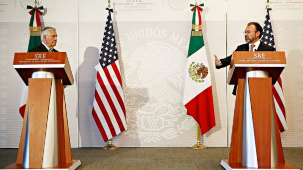 PHOTO: U.S. Secretary of State Rex Tillerson, left, and Mexico's Foreign Relations Secretary Luis Videgaray make a joint statement to the press at the Foreign Affairs Ministry, Feb. 23, 2017, in Mexico City.