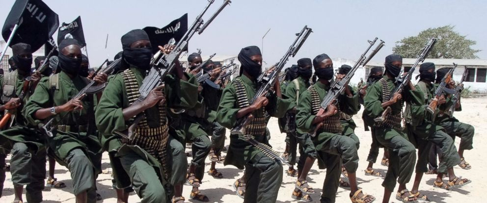 PHOTO: Hundreds of newly trained al-Shabab fighters perform military exercises in the Lafofe area in Somalia in this Feb. 17, 2011 file photo.