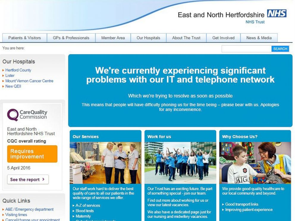 PHOTO: This is screengrab taken from the website of the East and North Hertfordshire NHS trust as Britains National Health Service is investigating an issue with IT, May 12, 2017.