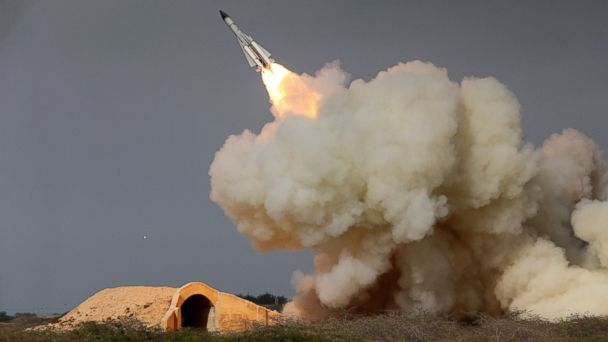 PHOTO: An image released by the semi-official Iranian Students News Agency (ISNA) of a long-range S-200 missile fired in a military drill in the port city of Bushehr, on the northern coast of Persian Gulf, Iran, Dec. 29, 2016.