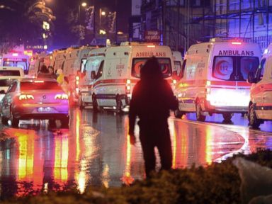PHOTO: Medics and security officials work at the scene after an attack at a popular nightclub in Istanbul, early Sunday, Jan. 1, 2017.