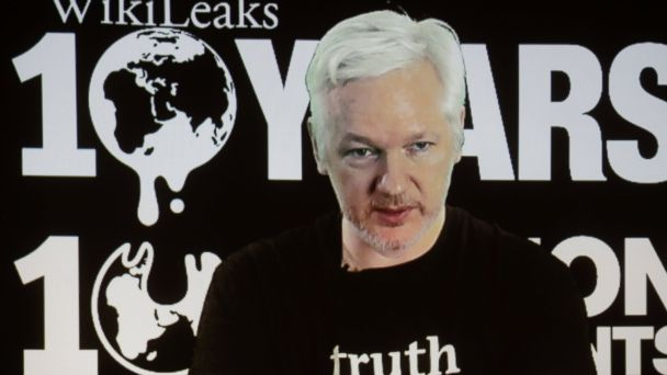 PHOTO: WikiLeaks founder Julian Assange participates via video link at a news conference marking the 10th anniversary of the secrecy-spilling group in Berlin, Oct. 4, 2016.
