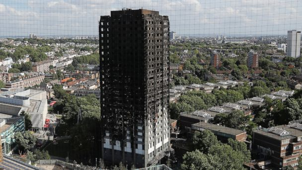 PHOTO: The scorched facade of the Grenfell Tower in London, June 15, 2017, after a massive fire raced through the 24-storey high-rise apartment building in west London early Wednesday.