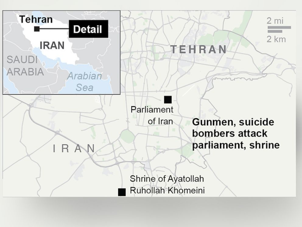 PHOTO: A map depicts the location of twin attacks on Irans parliament and the shrine of Ayatollah Khomeini in Tehran, Iran, June 7, 2017.