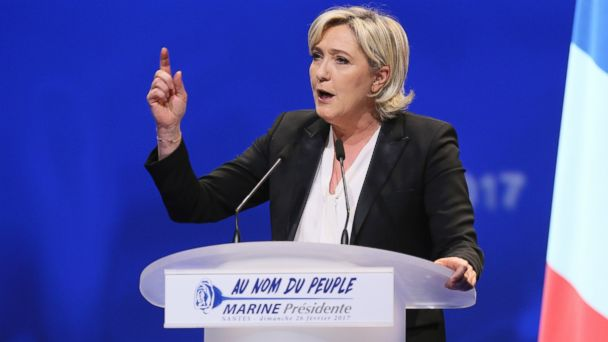PHOTO: French Far-right leader presidential candidate Marine Le Pen gestures as she speaks during a conference in Nantes, western France, Feb. 26, 2017.