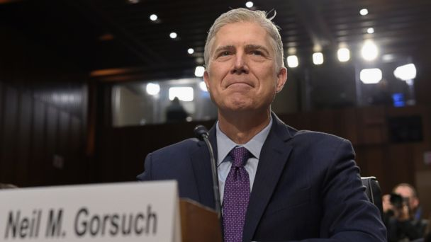 PHOTO: Supreme Court Justice nominee Neil Gorsuch prepares to testify on Capitol Hill in Washington, at his confirmation hearing before the Senate Judiciary Committee, March 21, 2017.