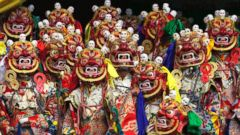 PHOTO: Tibetan Buddhist monks perform a dance called cham wearing traditional masks at the Sherabling monastery near Dharmsala, India, Dec. 9, 2016.