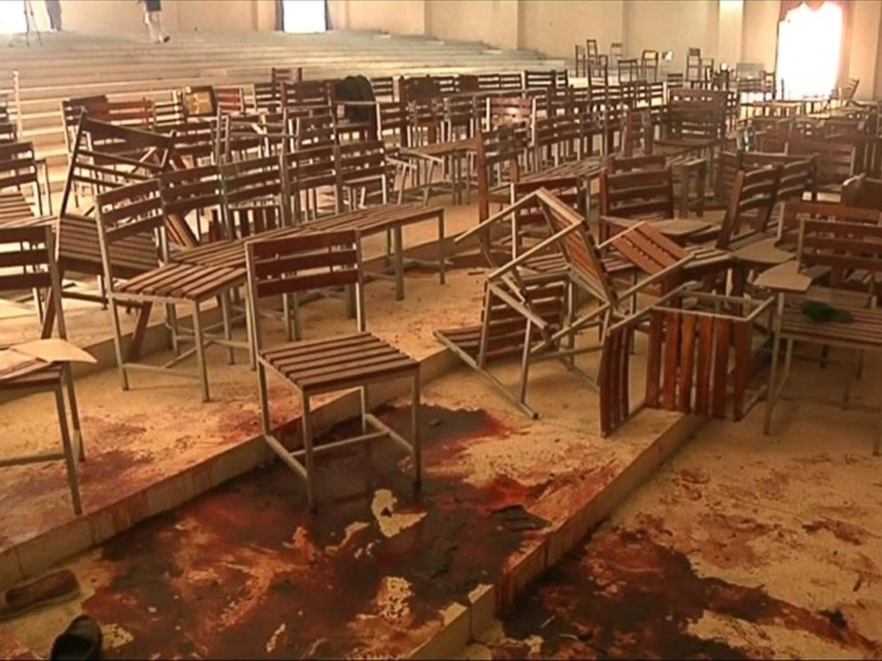 PHOTO: Blood is visible, with chairs upturned following a school attack in Peshawar, Pakistan, in an image taken Dec. 17, 2014.