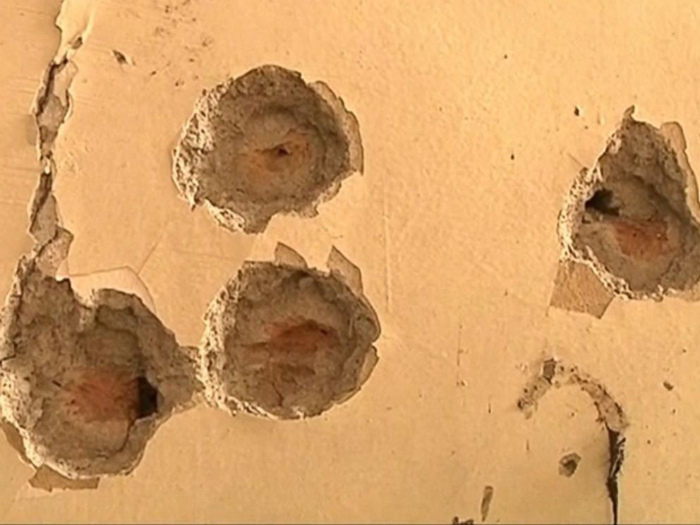 PHOTO:Bullet holes could be seen on the walls of a school in Peshawar, Pakistan following an attack, in an image taken Dec. 17, 2014.