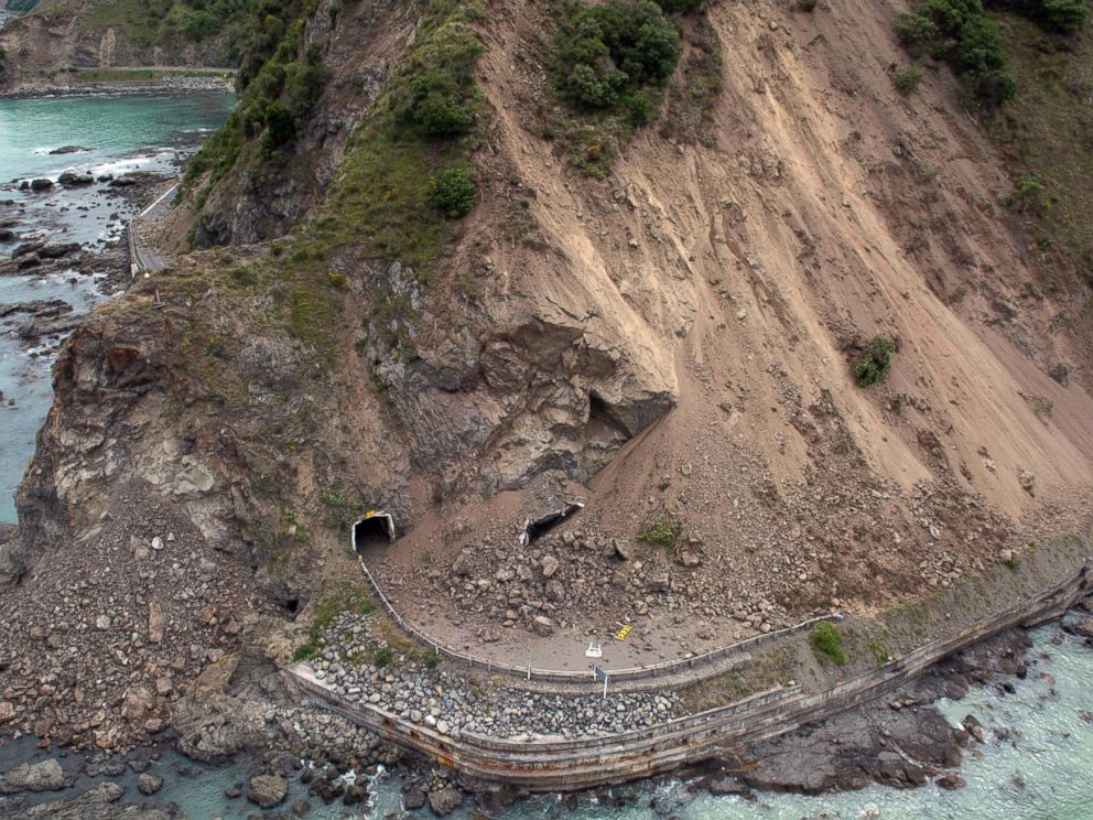 PHOTO: The aerial photo shows the damage to a state highway near Kaikoura, New Zealand Monday, Nov. 14, 2016 after a powerful earthquake.