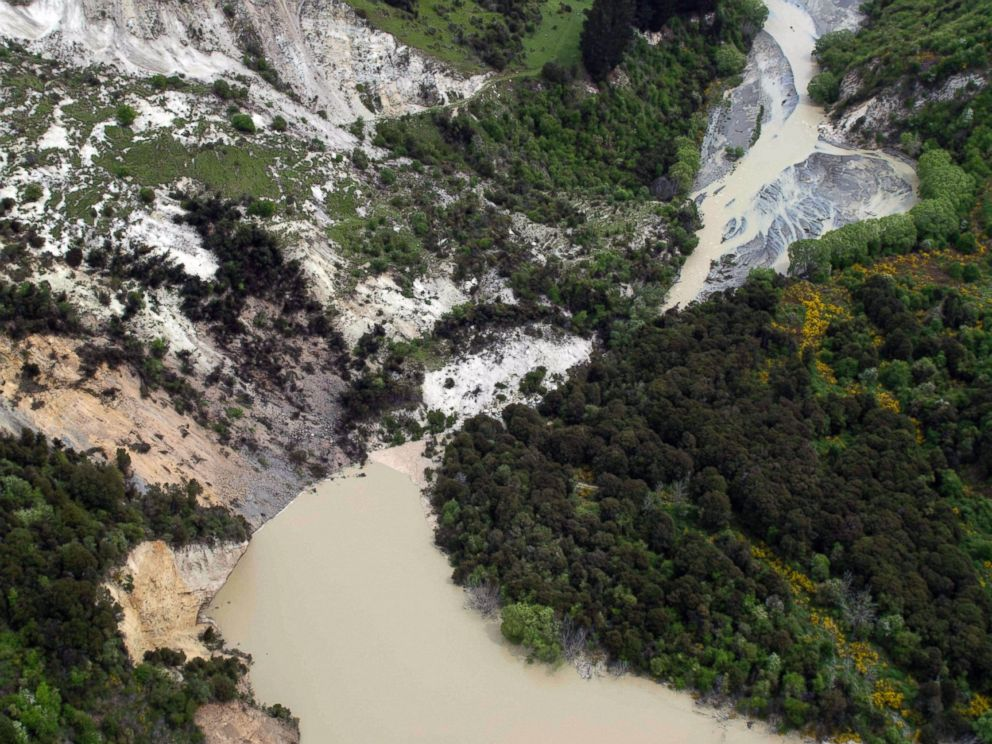 PHOTO: A lake caused by an earthquake slip forms on the Conway River near Kaikoura, New Zealand after a powerful earthquake Monday, Nov. 14, 2016.