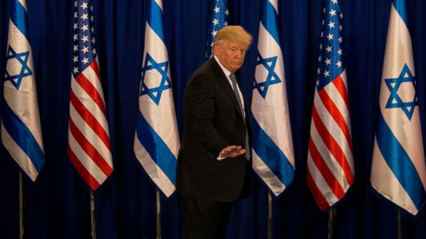 PHOTO: US President Donald Trump gestures after his meeting with Israeli Prime Minister Benjamin Netanyahu in Jerusalem, Monday, May 22, 2017.
