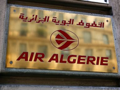 PHOTO: The logo of the Air Algerie company office, at the Opera avenue in Paris, July 24, 2014.