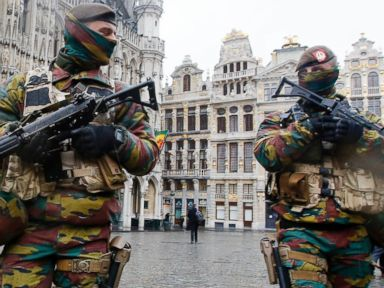 PHOTO:In this Nov. 24, 2015 file photo, Belgium police officers patrol the Grand Place in central Brussels.