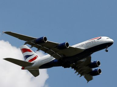 PHOTO: A British Airways Airbus A380-800 descends for a landing at Washington Dulles International Airport, on June 1, 2016, in Ashburn, Virginia.