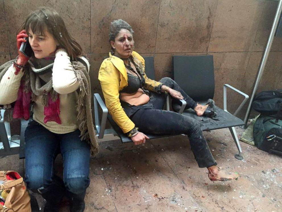 PHOTO: Two women wounded in Brussels Airport in Brussels, after explosions were heard, March 22, 2016.