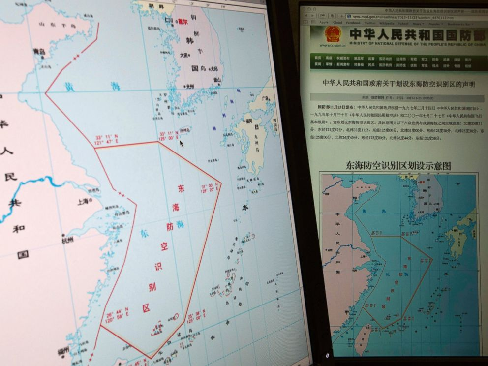 PHOTO: Computer screens, from the Chinese Ministry of Defense website, show a map with the outline of Chinas new air defense zone in East China, Nov. 26, 2013. The zone - includes a cluster of islands controlled by Japan but are also claimed by China .